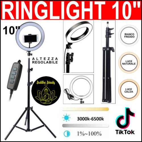 STUDIO FOTOGRAFICO PORTATILE LED RING LIGHT ANELLO LUCE LED PER SELFIE 10 POLLIC
