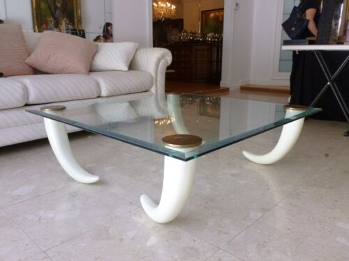 SMASHINGLY CHIC 1970'S GLASS COFFEE TABLE WITH FAUX TUSK LEGS AND BRASS CAPS - P