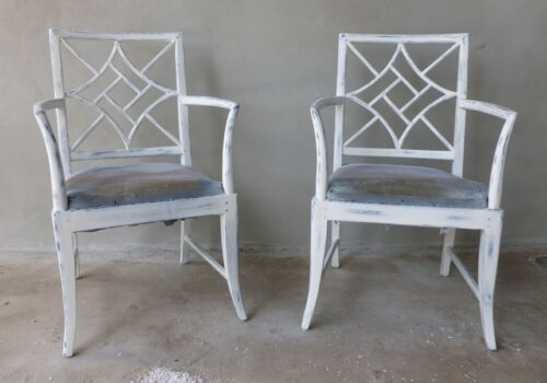 FABULOUS MID CENTURY CHINESE CHIPPENDALE ARM CHAIRS LIKE MCGUIRE