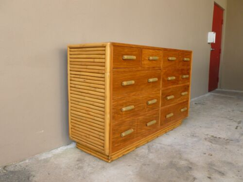 STUNNING MID CENTURY GODFATHER RATTAN 10 DRAWER DOUBLE CHEST LOVINGLY RESTORED