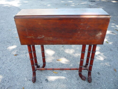 19TH C CHERRYWOOD FAUX BAMBOO SUNDERLAND TABLE