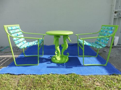 4 MOD PSYCHEDELIC SAMSONITE WROUGHT IRON PATIO CHAIRS W 2 SEAHORSE TABLES