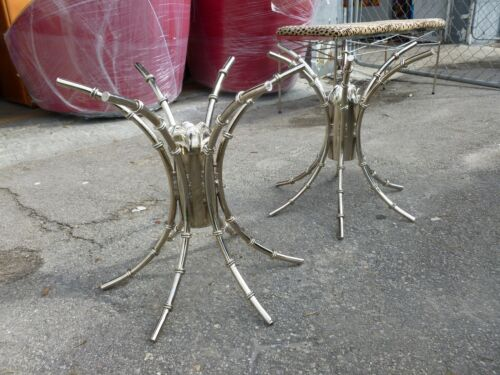 WONDERFUL 70'S CHROMED ARTICHOKE / BAMBOO TABLE BASES - A PAIR