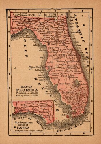 1888 Antique FLORIDA State Map MINIATURE Vintage Map of Florida Wall Art 7876