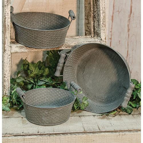 3 Set Farmhouse Punched Metal Tubs Gatherings Americana Primitive Too Cute!