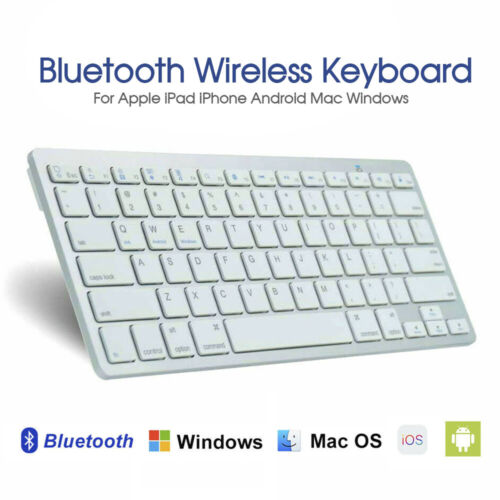 Bluetooth Keyboard For Apple iPad iPhone Android Mac Windows Wireless Ultra Slim