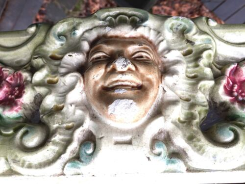 HEAVY Antique Majolica Pedestal Depose ORNATE FACES Base Ceramic ART Cement VTG