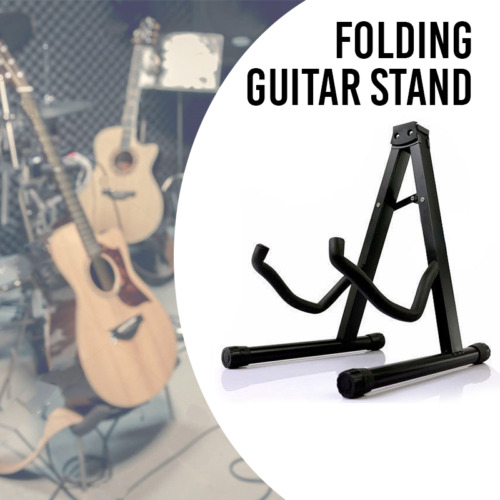 Folding Guitar Stand Floor Rack Electric Acoustic & Bass Gig Holder