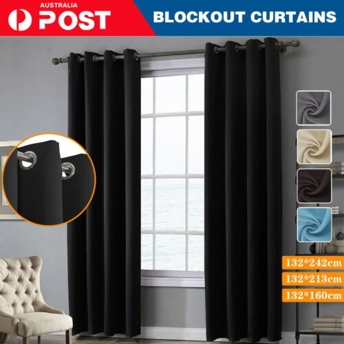 2X Blockout Curtains Thermal Blackout Curtains Fabric Pair Eyelet for Bedroom
