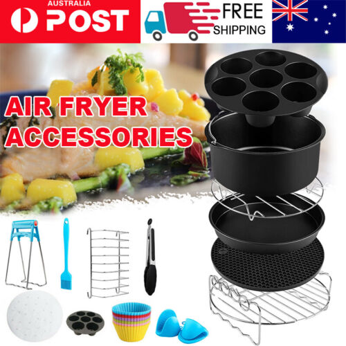 8 in Air Fryer 130pc Accessories Frying Cage Dish Baking Pan Rack Pizza Tray Pot