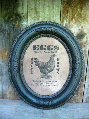 Eggs for Sale Sign Printed on Homespun Ornate Antique Wood Frame