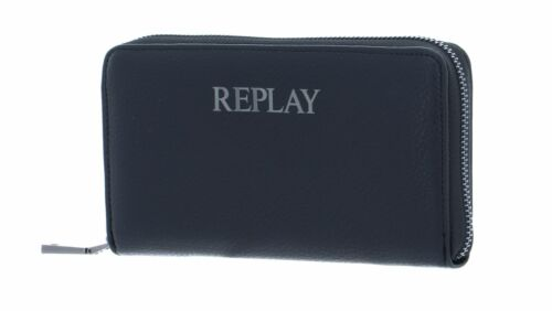 REPLAY Gusset Wallet with Zipper Black