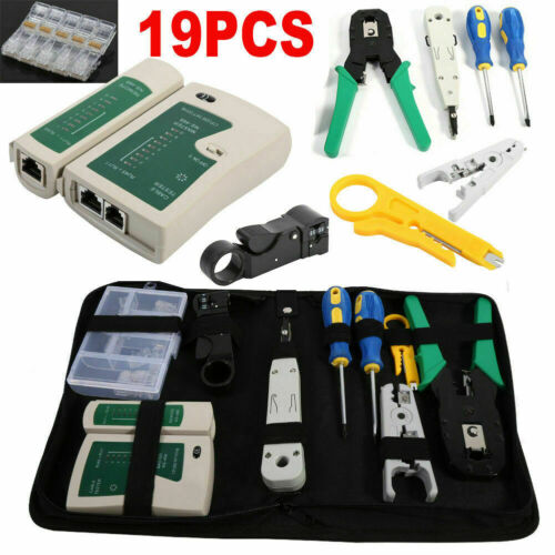 19x Crimp Punch Tool Data Network LAN RJ45 CAT5e RJ11 RJ12 PC Cable Tester Kit