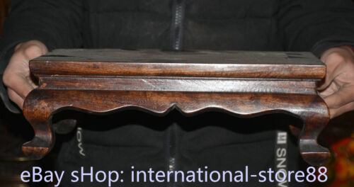 """14.4"""" Old Chinese Dynasty Huanghuali Wood Inlay Shell Fish Table Desk furniture"""