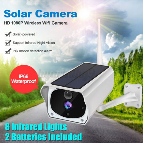 2020 Solar IP Security Camera WiFi Wireless 1080P Outdoor PIR Motion Sensor IP67