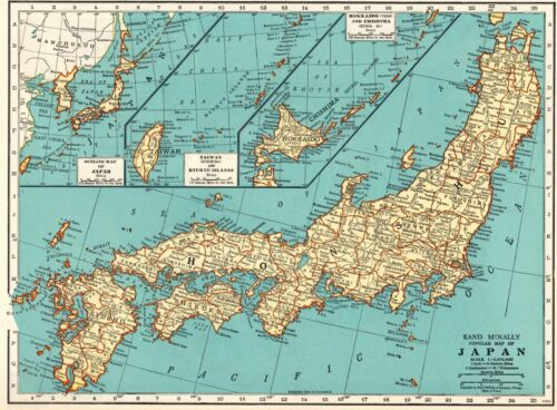 1937 Antique JAPAN Map Vintage Collectible Map of Japan Gallery Wall Art 8095
