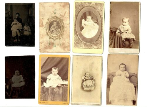 Antique Victorian Era Tintypes & CDVs Child and Infant Photo Collection of 8