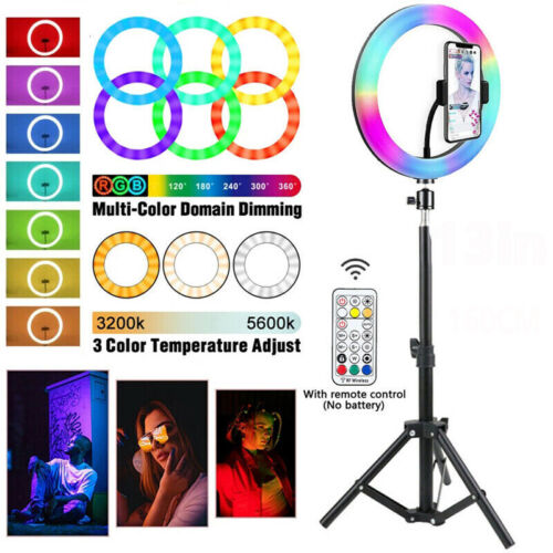 10 inch Dimmable LED Ring Light + 14CM Tripod Stand Selfie Circle Lamp Make Up