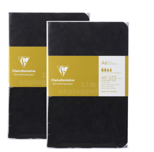 Clairefontaine A6 Duo Notebook Ruled Pages Black/Cobolt/Emerald/Beige