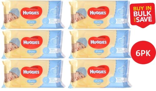 6 x Huggies Pure Baby Wipes PK56 Unscented (336 Wipes)