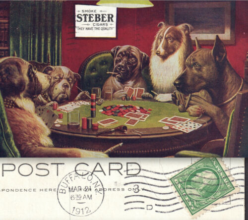 Antique Steber Cigars 1906 / 1912 Cancel Dogs Playing Poker CM Coolidge PostCard