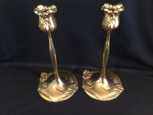 Pair (2) Antique Weidlich Brothers WB MFG Art Nouveau Candle Sticks Holders