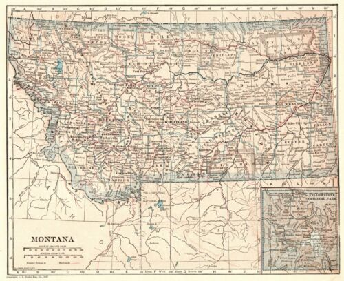 1917 Antique Montana State Map Original Vintage Map of Montana Gallery Wall 8203