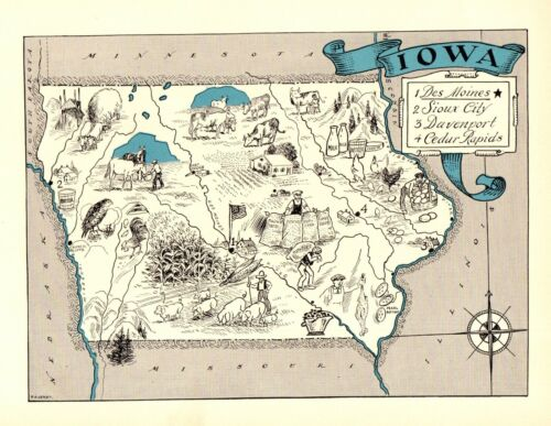 1930s Antique IOWA State Map RARE Animated Picture Map of Iowa  BLU 6896