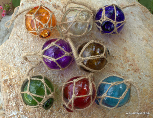 """Set of 8 Assorted 2"""" Glass Fishing Floats Assorted Colors Fishing Net Buoys Deco"""