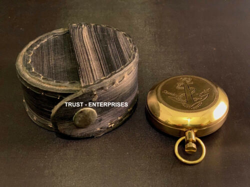 Brass Nautical Pocket Compass Maritime With Case Best Gift For Antique Lover