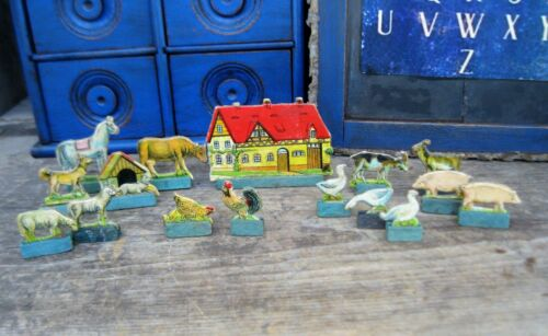 Small Antique Toy Farm with Animals Cardboard w Wood Stands Putz Village