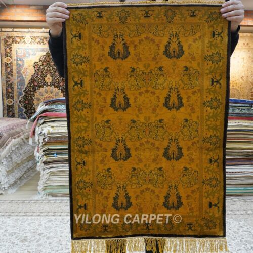 Yilong 2.25'x3.25 Yellow Silk Area Rug Villa Hand knotted Tapestry Carpet 154AB