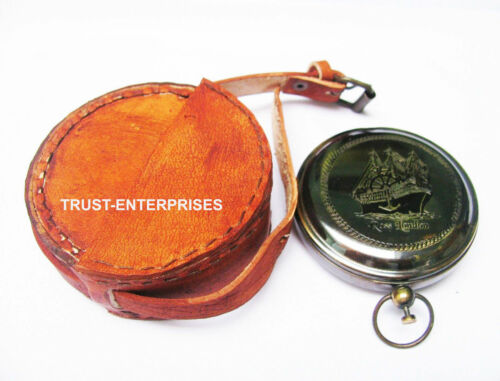 Nautical Marine Rose London Pocket Vintage Compass With Leather Case Gift