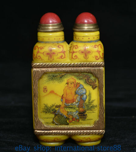 """3.4"""" Collect Marked Old China Yellow Beeswax Gold ROHAN Lohan Snuff Bottle"""