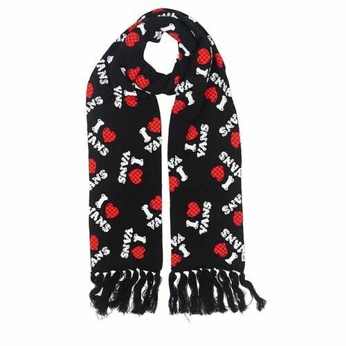 Vans Off The Wall Womens Long Scarf Black White Red I Heart Vans 3R3Y28 A112D