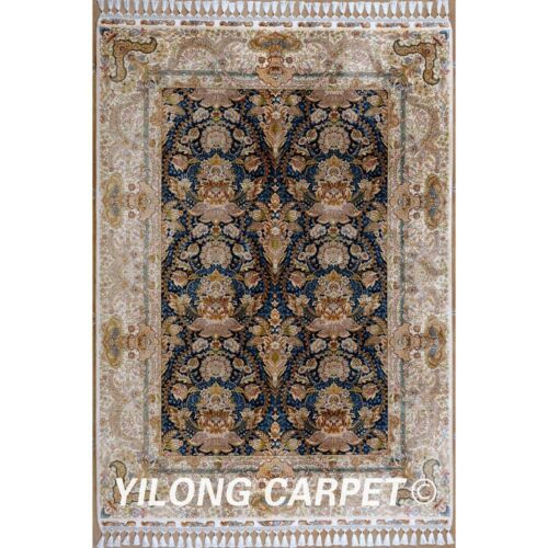 Yilong 5.6'x8.1' Turkish Silk Area Rug Porch Hand Knotted Hand-made Carpets 1825