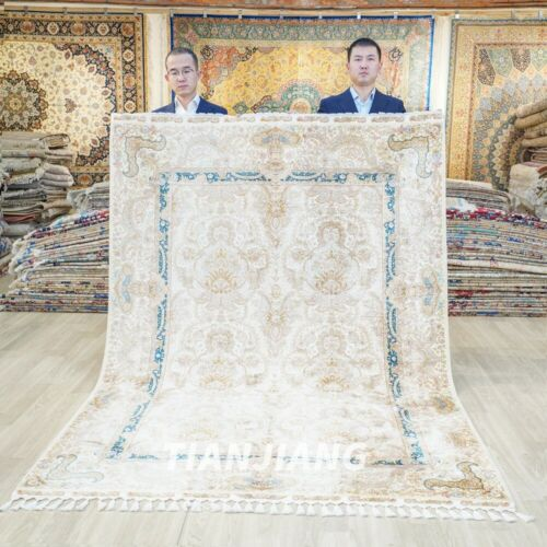 Yilong 5.6'x8.3' Interior Silk Rugs Hand Knotted Handwoven Luxury Carpet 1808
