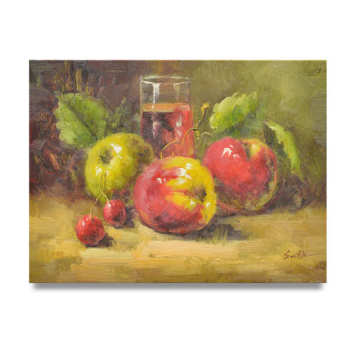 NY Art - Beautiful Impressionist Apples & Cherries 12x16 Oil Painting on Canvas!