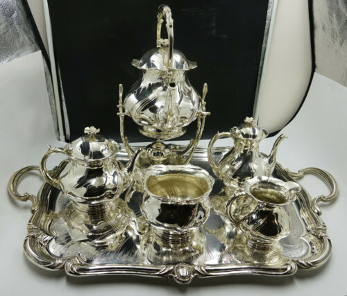 OVERSIZE French Christofle Silver Plate Louis XV Chrysanthemum Coffee & Tea Set