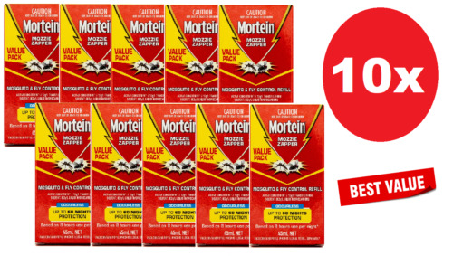 10x Mortein Mozzie Zapper Mosquito & Fly Control Refill Odourless 45mL