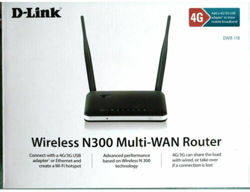 D-Link DWR-116 Wireless N300 Wireless WAN Router with 3G 4G LTE USB Interface