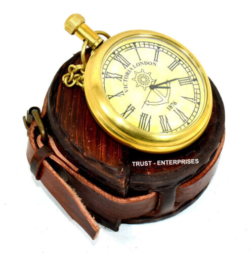 Nautical Brass Victoria London 1876 Pocket Chain Watch With Leather Case Free