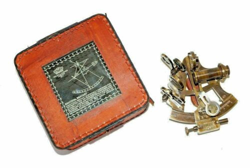 """ANTIQUE  BRASS SEXTANT WORKING MARINE  ASTROLABE 4"""" WITH LEATHER BOX"""