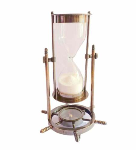 """Antique Nautical Solid 8"""" Brass Ship Maritime Wheel Hourglass with Compass Base"""