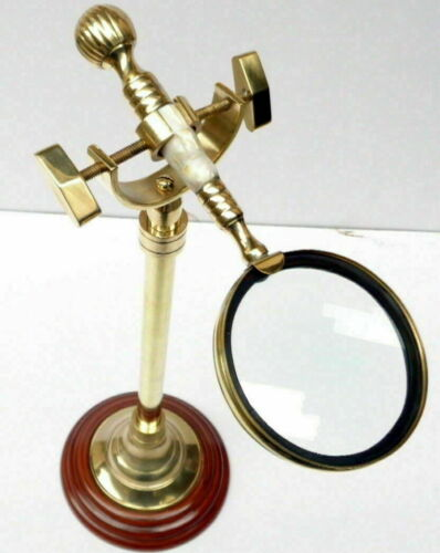 Vintage brass Magnifying Glass With Wood Desk Stand Magnifier décor & gift item