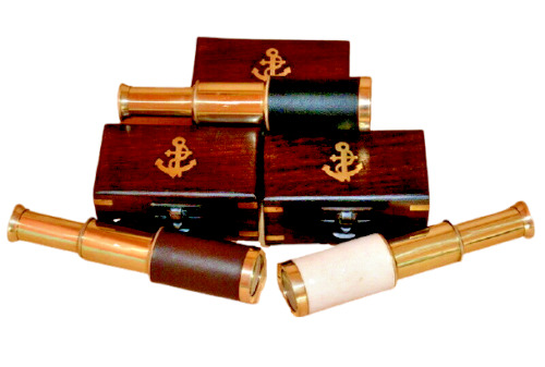 """Maritime  Brass 6"""" brown,black,white leather telescope spyglass with wooden box"""