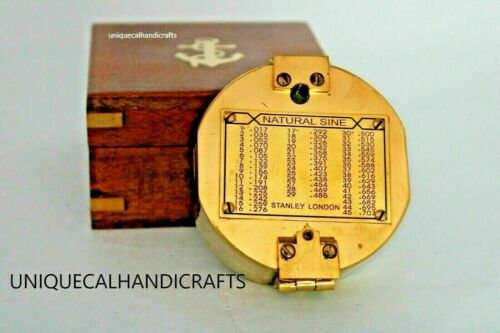 """NAUTICAL BRASS """"3"""" BRUNT-ON STANLEY LONDON COMPASS POLISH FINSIH WITH WOODEN BOX"""