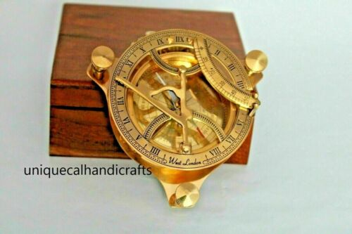 """Nautical brass """"4"""""""" inch approx. sundial compass polish finish with wooden box"""