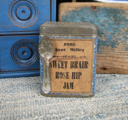 Antique Pantry Tin Blue Calico Sweet Brair Rosehip Jam Label Free Shipping