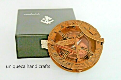 Nautical Antique 5 inch approx sundial compass gilbeart sons with wooden box